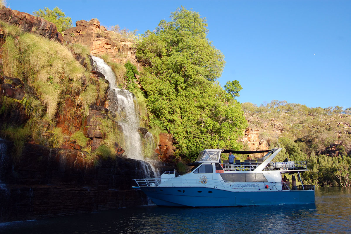 MV KingTide moored at Kimberley waterfall